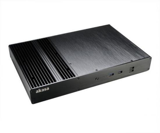 Akasa Obudowa Thin Mini ITX Galileo T, Fanless, Aluminium, 2 HP Cooler, USB