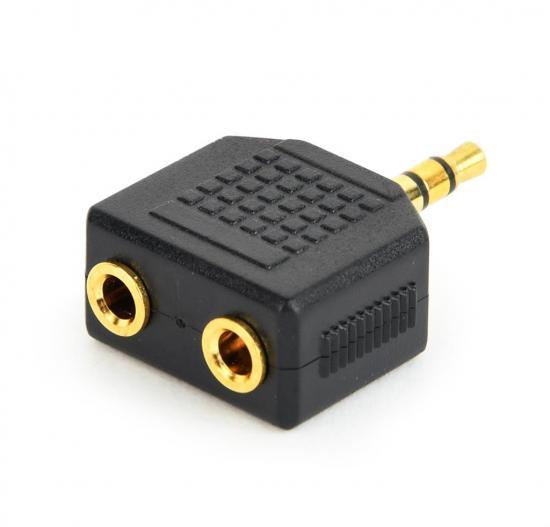 Gembird adapter rozdzielacz Jack - 2x 3.5mm JACK żeńskie metalowe złącza, czarny