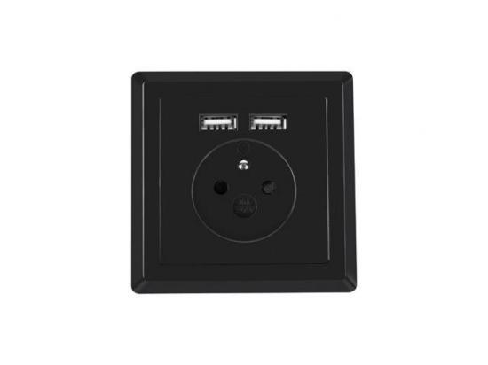Gniazdko elektryczne Lanberg 230V 2x USB czarne