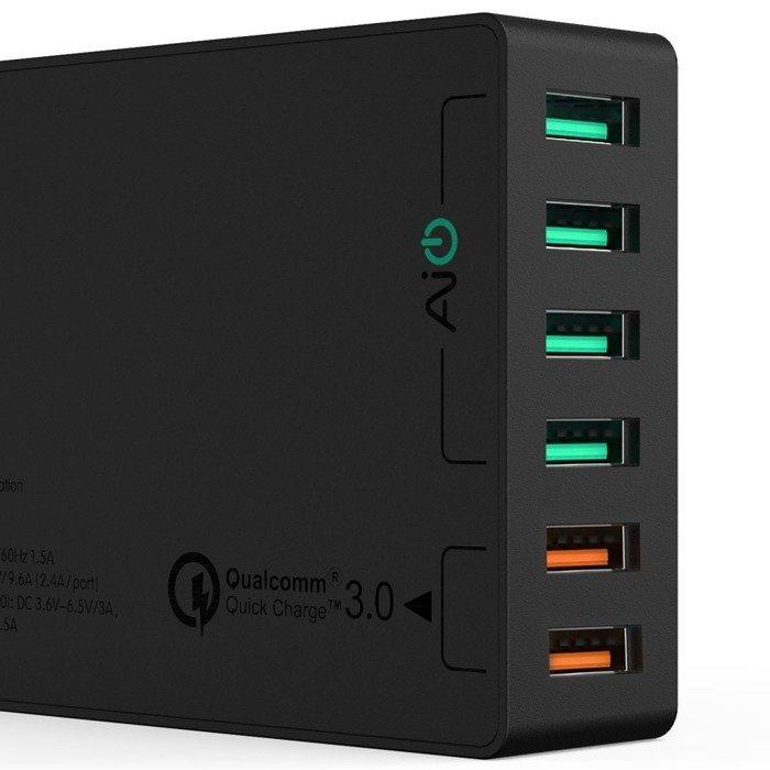 Ładowarka sieciowa Aukey PA-T11 60W 6x USB QC 3.0